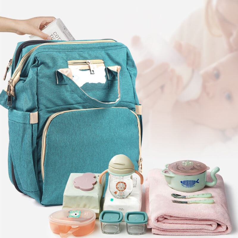 Foldable Mummy Baby Bed Crib Backpack Multi-Functional Diaper Bag w/Changing Pad