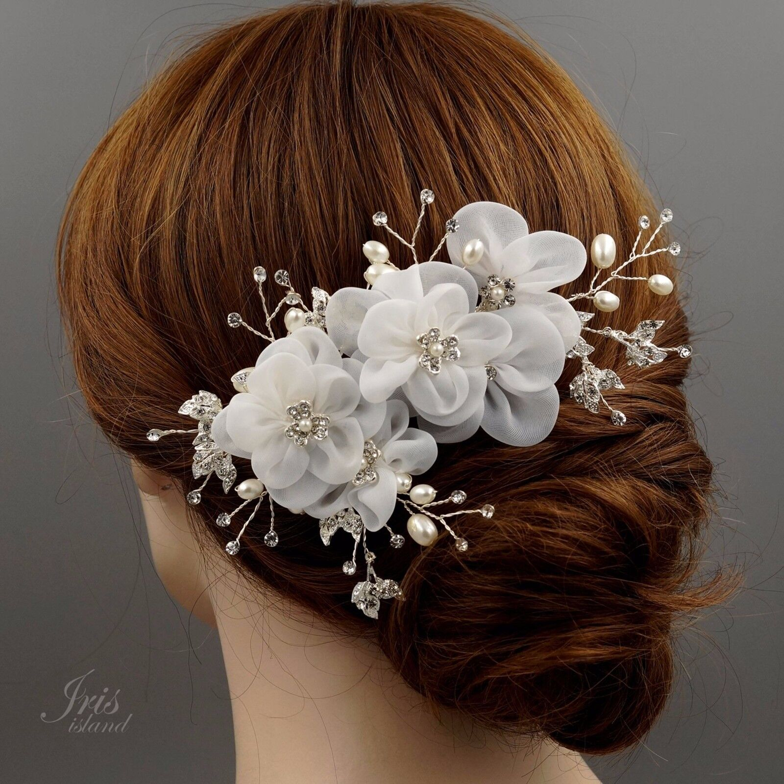 Bridal Hair Comb White Silk Flower Crystal Pearl Headpiece Wedding