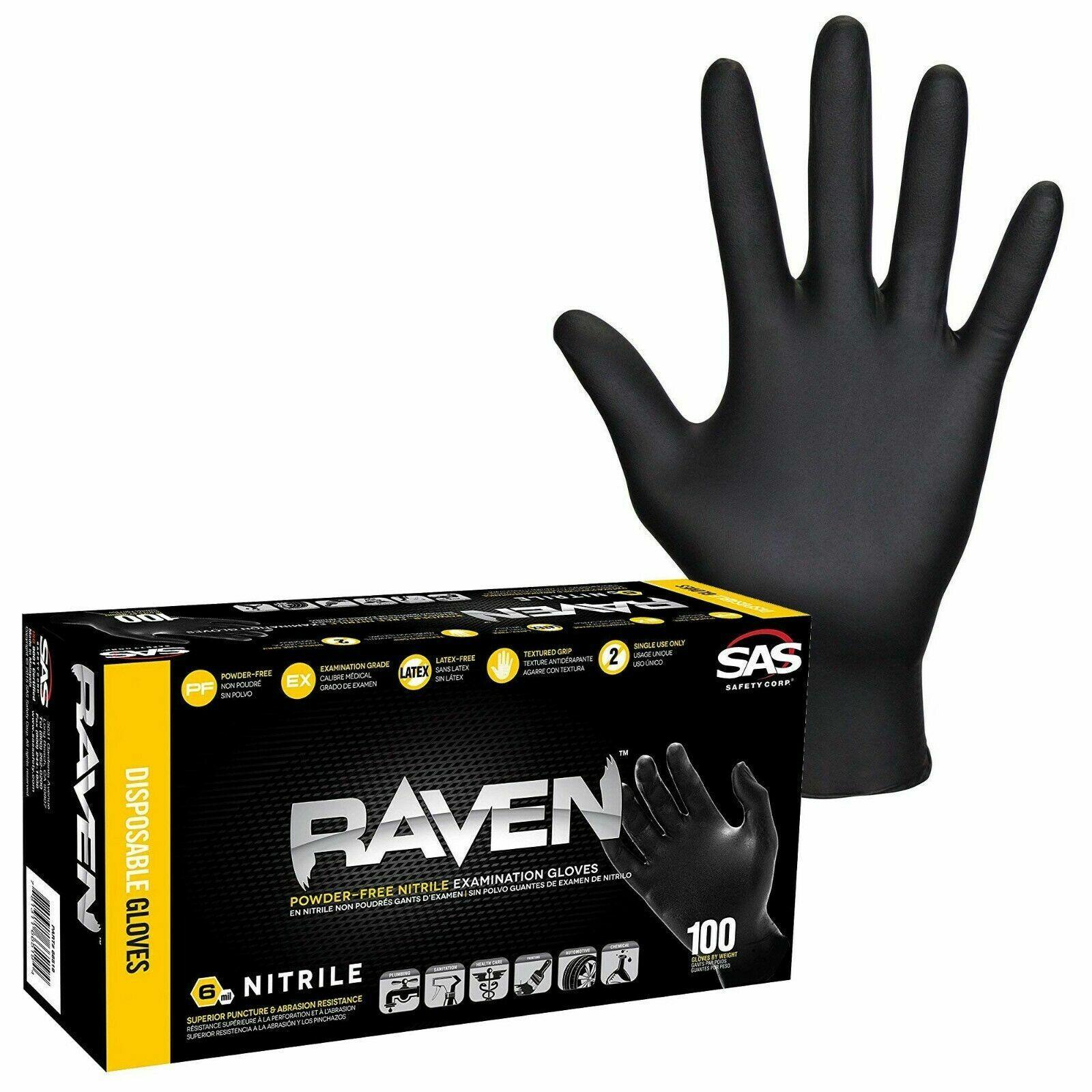 SAS Raven Black Nitrile Gloves Powder Free shipping