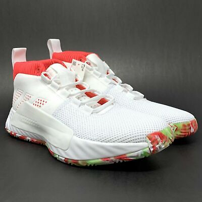 Adidas Dame 5 All Skate Basketball Shoes White Red BB9312 NEW Men's Size 11.5