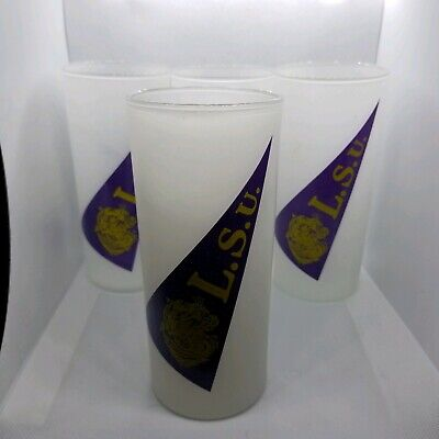 Vintage LSU Tigers *Tall Glass* NCAA Pennant Mascot Frosted Tumbler Glass set 4 Tigers Glass Mascot Football
