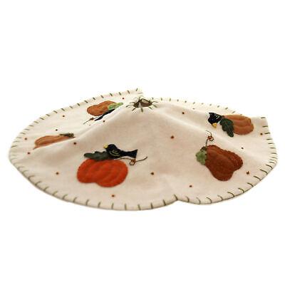 Fall CROW AND PUMPKIN MINI TREESKIRT Wool Thanksgiving Wool Applique Rl8295