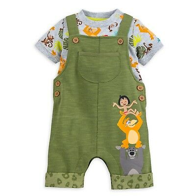 Disney Store Jungle Book Dungaree Baby Bodysuit Mowgli Baloo King Louie Outfit