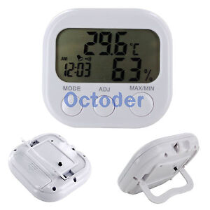 Digital LCD Indoor Thermometer Hygrometer Alarm Clock Temperature Humidity Meter