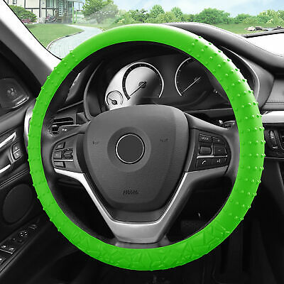 Silicone Steering wheel cover Nibs Sturdy Massage Grip Green for Auto Green Ford Grips