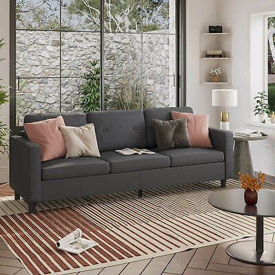 """75.59"""" Modern Couch sofa Loveseat Set Fabric Living Room Furniture 3 Seater Grey"""