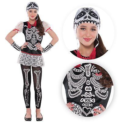 Teens Mädchen Tag der Toten Sassy Blumenmuster Skelett - Blumen Mädchen Kostüm Halloween