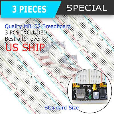3x Mb-102 830 Point Prototype Pcb Solderless Breadboards Protoboards Us