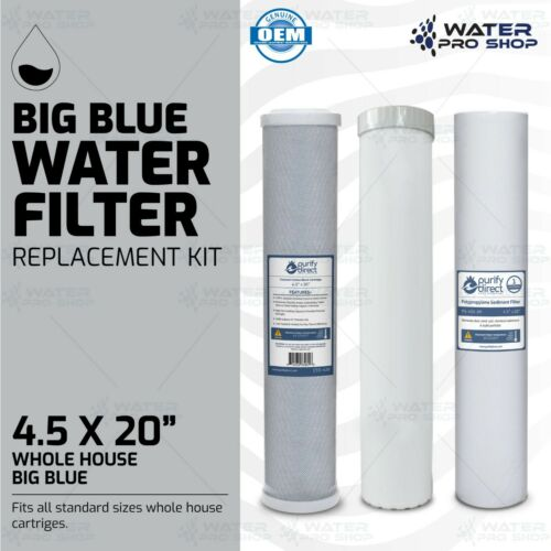 "3 Stage Big Blue Water Filter Replacement Kit, Sediment/KDF/Carbon - 4.5"" x 20"""