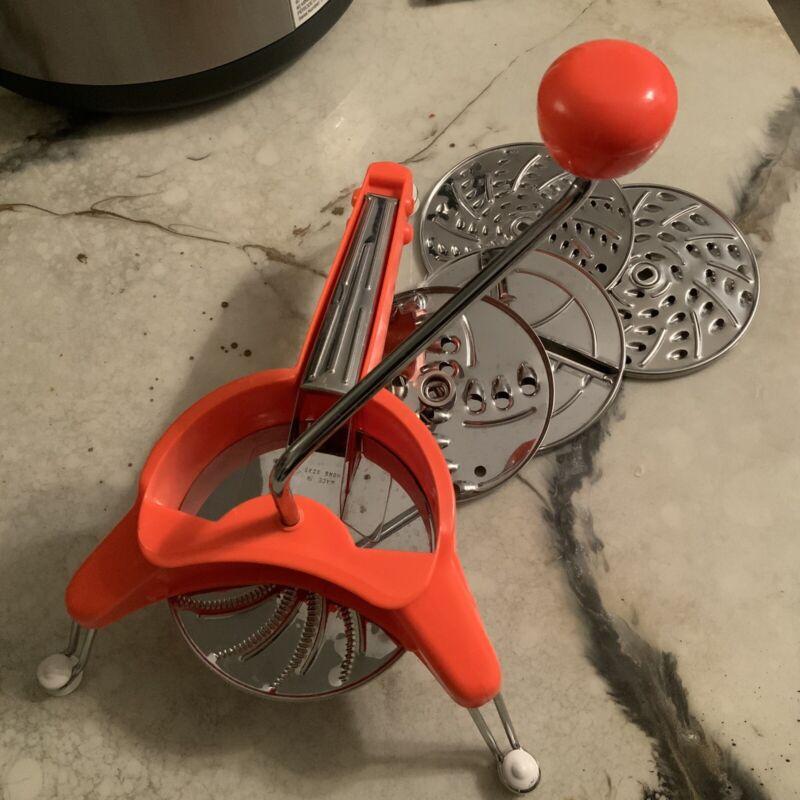 Vintage Mouli Julienne Moulinex Orange/ Red Food Slicer Grater w/5 Discs