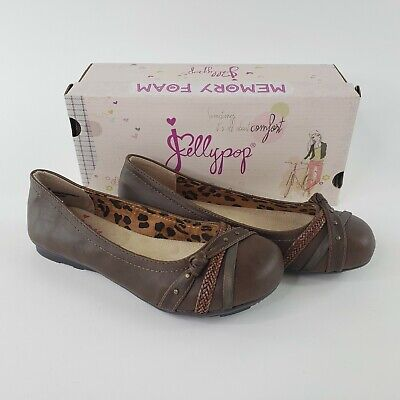 Jelly Pop Jay Womens Memory Foam Flats Shoes Brown Leopard Express Sz 8.5 New