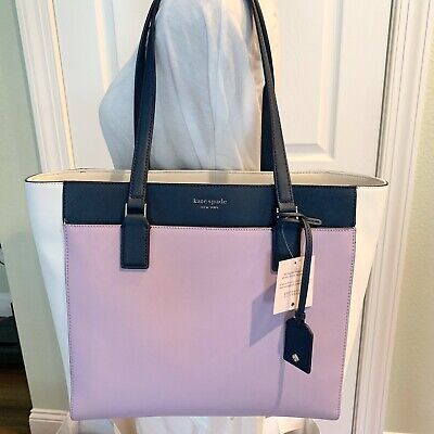Kate Spade New York Laptop Tote Purse Cameron Lavender Navy Leather Ksny New NWT