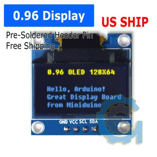 """0.96"""" I2C IIC 128X64 LED OLED LCD  Display Arduino Yellow Blue Color SSD1306 US"""
