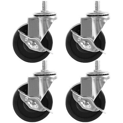 4 Pack 2 Inch Caster Heavy Duty Rubber Caster Wheels With Brake Swivel Top Plate