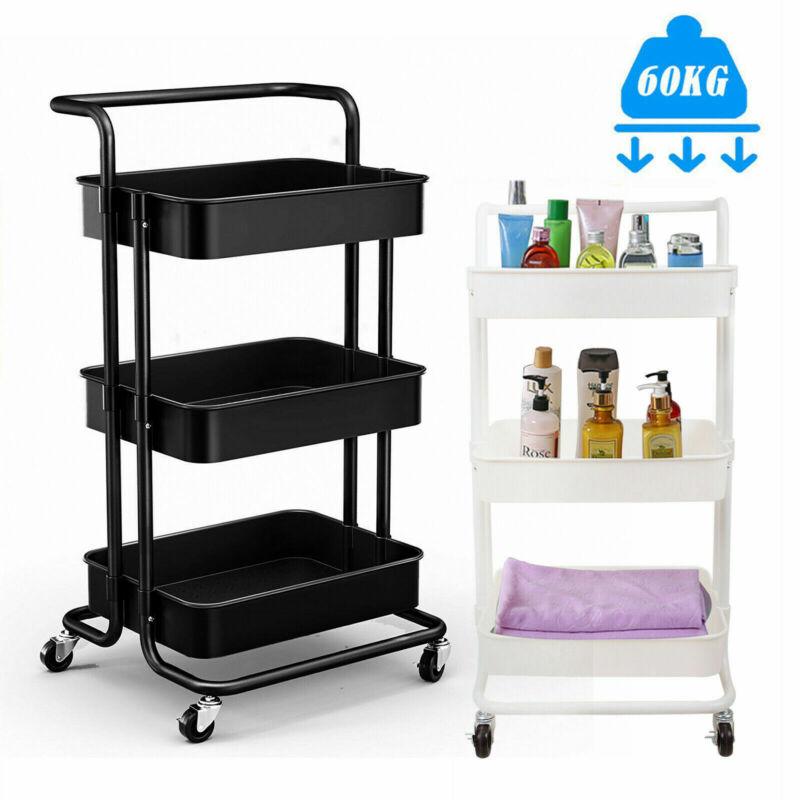 3-Tier Rolling Utility Carts Kitchen Storage Trolley Organizers Bathroom Office