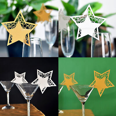 50pcsStarName Place Cards ForGlassWine Laser Cut On Pearlescent CardWedding ()