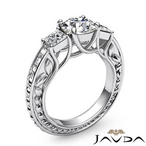 Round Diamond Filigree Engagement GIA F SI1 Platinum Trellis 3 Stone Ring 1.9ct