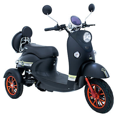 Black 3 Wheeled 60V 100AH 600W Electric Mobility Scooter ROAD LEGAL GREEN POWER