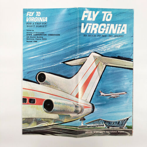 1968 Dulles International Airport Vintage Travel Brochure Virginia Great Graphic
