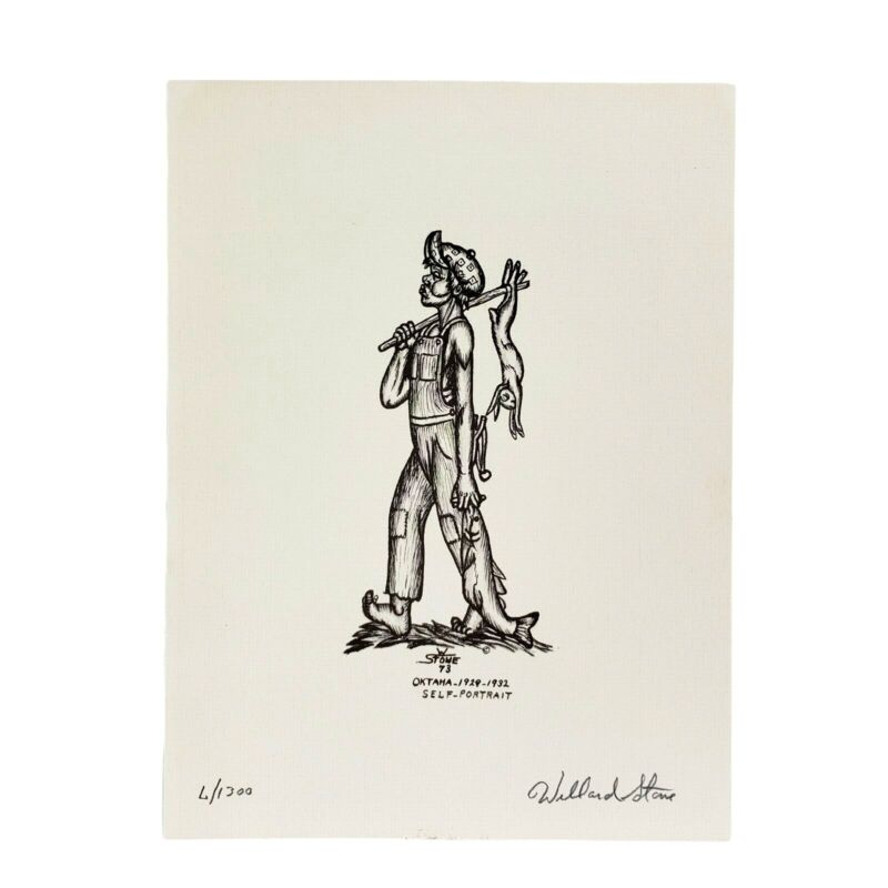 Willard Stone Drawing Signed #6 Print Ltd Ed Self Portrait Cherokee Numbered