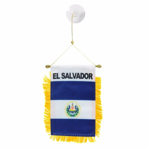 EL SALVADOR  Mini Banner Flag Great For Car & Home Window Mirror Hanging 2 Sided
