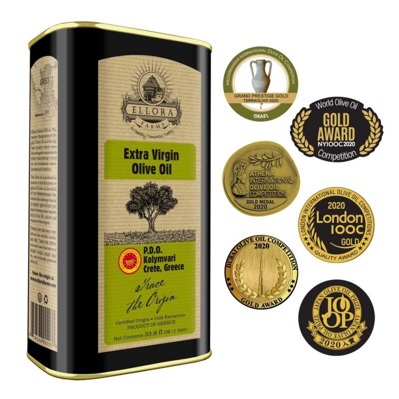 Ellora Farms, Gold Award, Single Estate Greek Extra Virgin Olive Oil, 33.8 Oz.