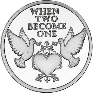 2015 When Two Become One Doves 1oz 999 Fine Silver Round