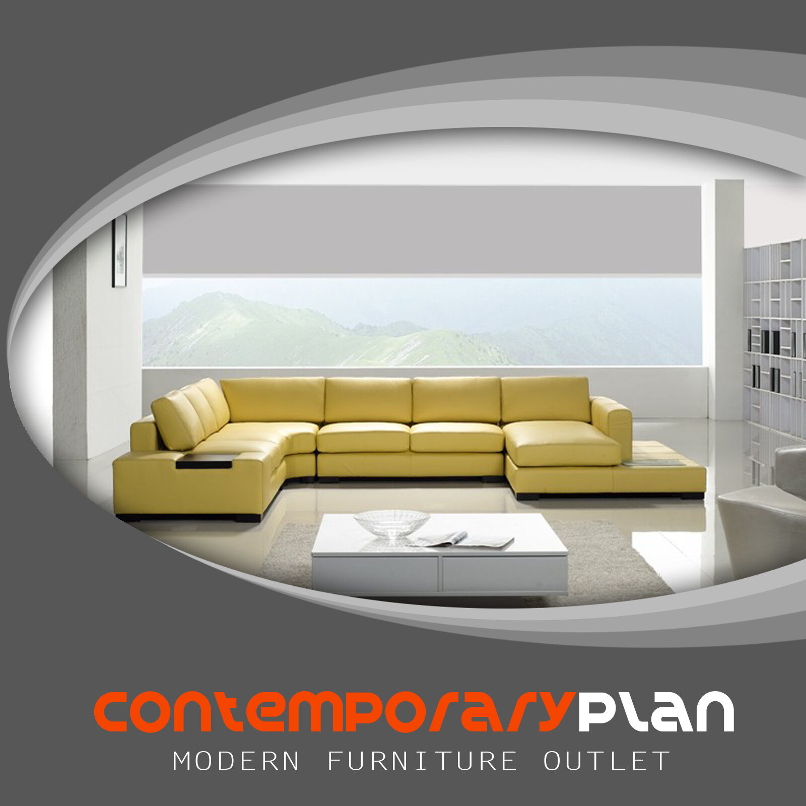 Contemporary Mustard Yellow Leather Sectional Sofa with Buil