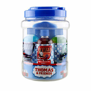 7 piece thomas the tank engine friends 25cm jar of bath for Thomas the train bathroom set