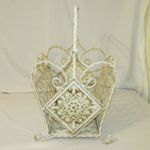 Vintage Victorian Style Painted White Wrought Iron Woven Metal Magazine Rack