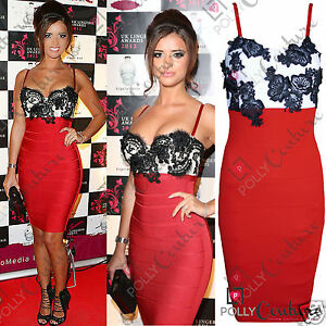 Womens-Red-Lace-Bodycon-Bandage-Cocktail-Party-Evening-Formal-Ladies-Midi-Dress