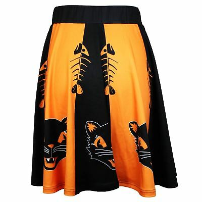 Women's Retro Vintage Style Orange Black Cat Skirt Halloween Party Costume S-3XL - Black Cat Halloween Costumes For Women