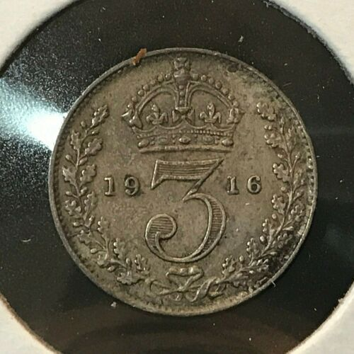 1916 GREAT BRITAIN SILVER THREE PENCE COIN