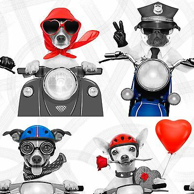 BIKER DOGS WALLPAPER MURIVA 102561 - NEW SCOOTERS PUG PUPPY DOG LOVER NEW