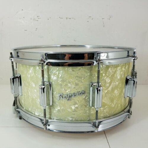 Rogers WMP 14 X 6.5 WOOD DYNA-SONIC Snare Drum White Marine Pearl, Vintage 1960s