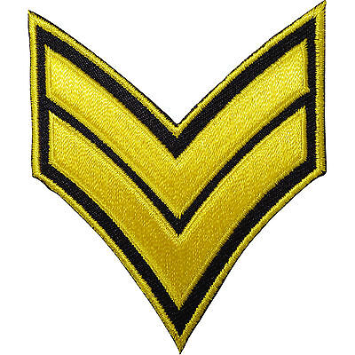 Corporal Stripes Embroidered Iron / Sew On Patch US British Army Military Badge