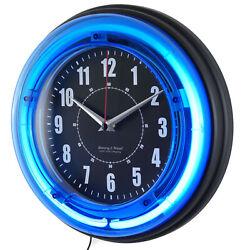 Wall Clock 11 Blue Neon Analog Vibrant Retro Light Room Game Drom Bar Man Cave