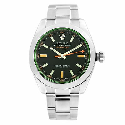 Rolex Milgauss Green Crystal Orange Hand Black Dial Mens Watch 116400GV