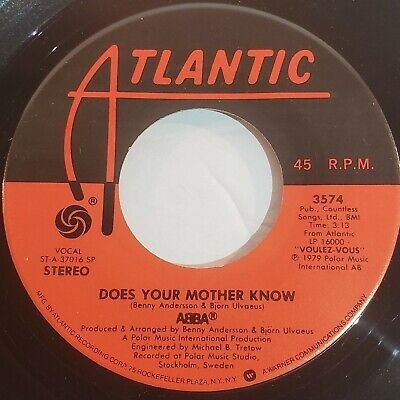 "ABBA: Does Your Mother Know / Kisses Of Fire 1979 Atlantic Vinyl 7"" Single 45 RP"