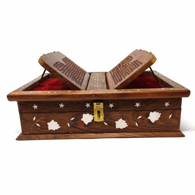 """Folding Decorative Wooden Book Stand With Book Storage Box Hand Carved 13.75"""""""
