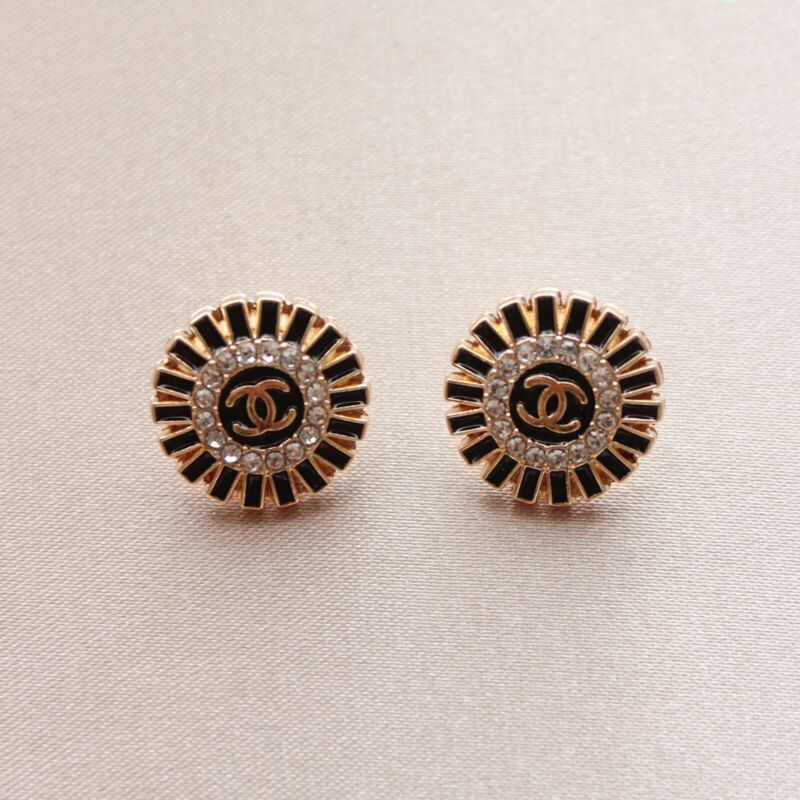 Set of 2 Chanel Buttons 16mm, Black, Gold, Rhinestone