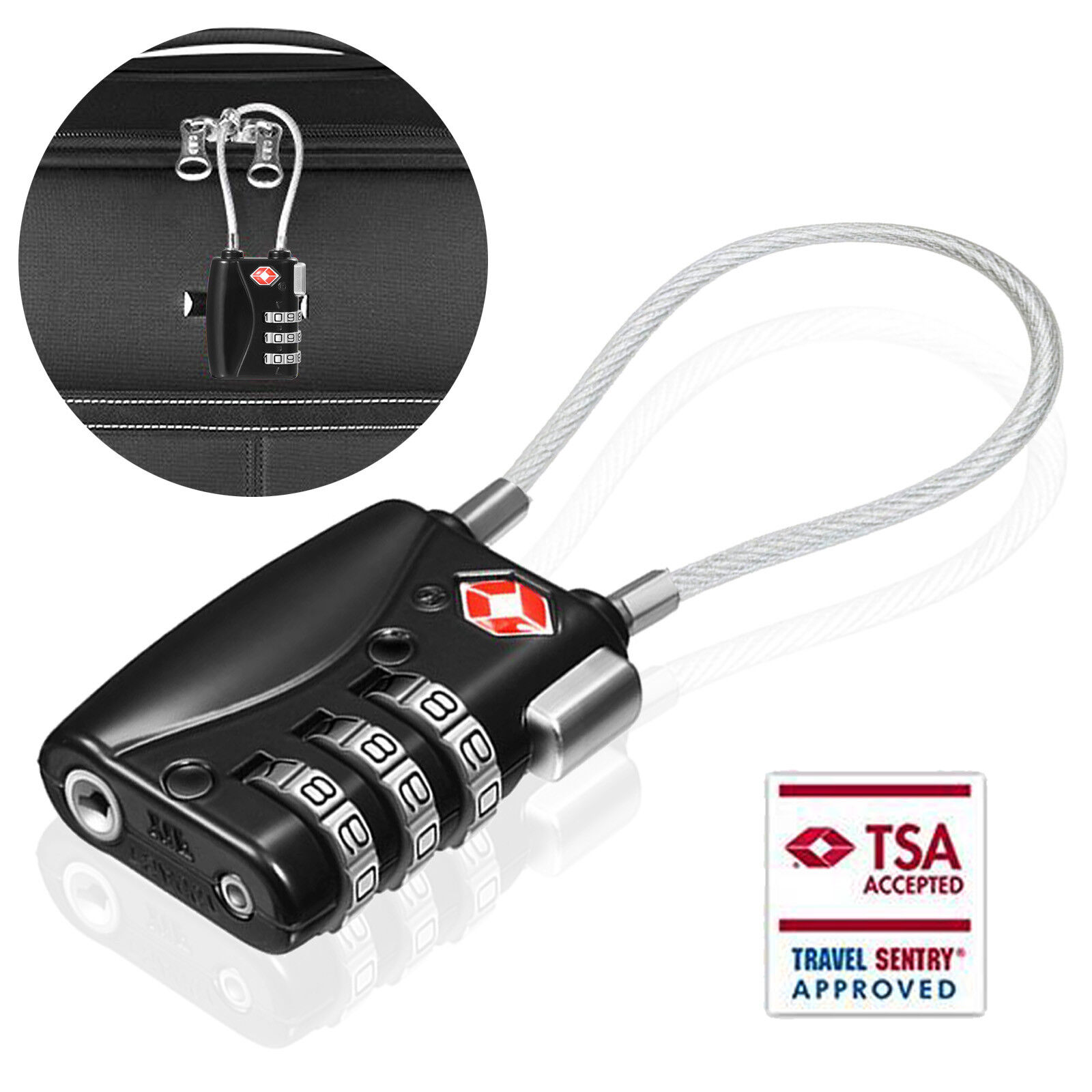 TSA Approve 3 Digit Combination Travel Bag Suitcase Luggage Lock Padlock Reset - $10.44