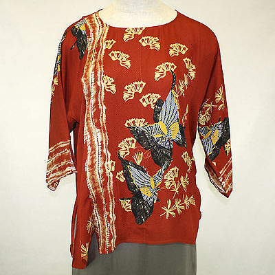 Citron Clothing Red Butterflies 100% Silk Faux Wrap Blouse Plus 2X - Butterflies Clothing