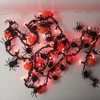 Halloween Spider Pumpkin String Light Garland 100 Orange Lights 9 ft Indoor