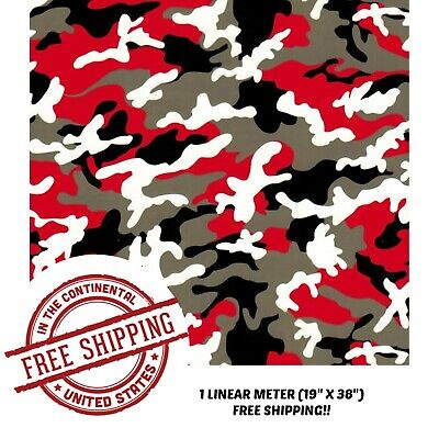 Hydrographic Film Water Transfer Hydro Dipping Dip Red Black Camo Film 19x38