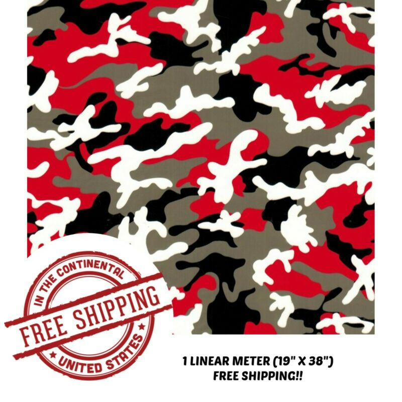 "Hydrographic Film Water Transfer Hydro Dipping Dip Red & Black Camo Film 19""x38"""
