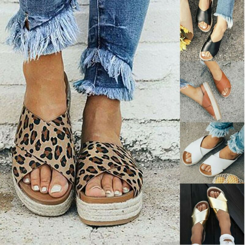 Women Summer Sandals Platforms Wedge Flat Espadrille Open To