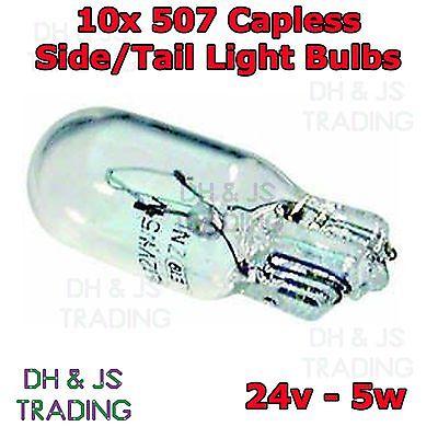 10 x 507 Capless Side Light Tail Light Bulbs 24v 5w Bulb Commerical Truck Lorry