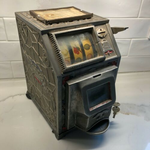 Vintage Antique Puritan Baby Jackpot Front Bell Trade Stimulator Five Cents