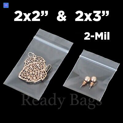 Clear Small Zip Lock 2x 2 2x 3 Plastic Bags 2mil Reclosable Jewelry Baggies